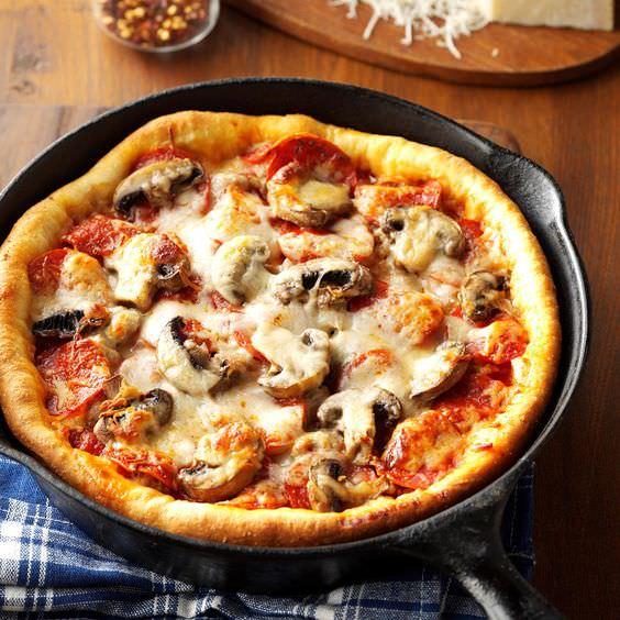 пицца на сковороде без теста